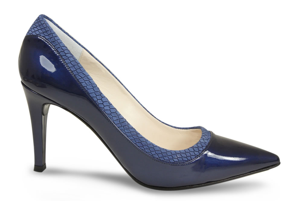 Lisa Kay London Beatrice Navy Patent Snake Pump